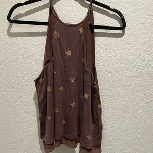 Plum colored halter tank with gold stars